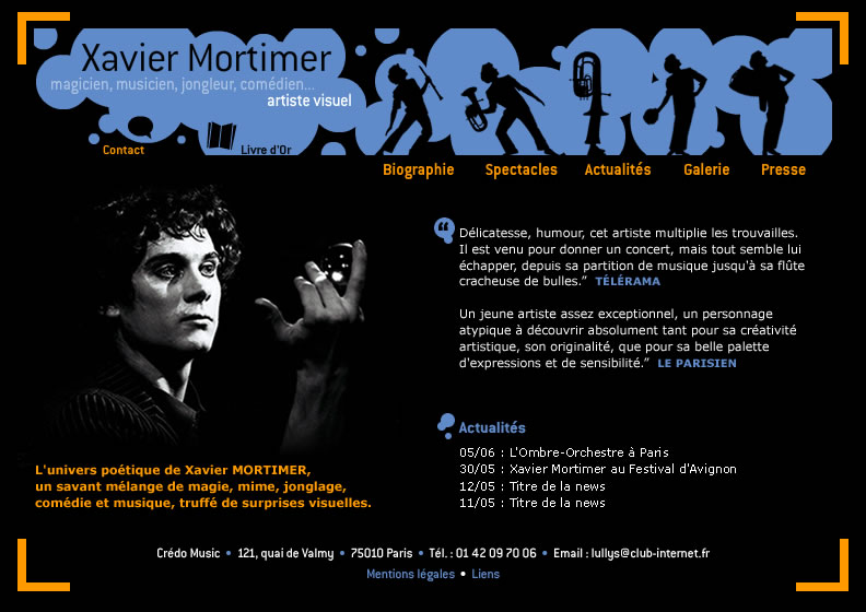 Page d'Accueil du site de Xavier MORTIMER